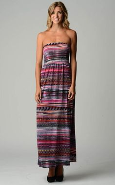 Stripe Pattern Strapless Maxi Dress