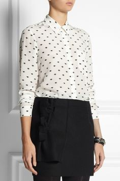 KENZO Eye-print silk-crepe shirt NET-A-PORTER.COM