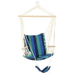 Hanging Hammock Chair with Footrest - Blue & Green Stripes photo 2