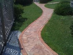 Sandstone Stamped Concrete | Stone stamped concrete walkway with smooth ... | Concrete Remodelling ...