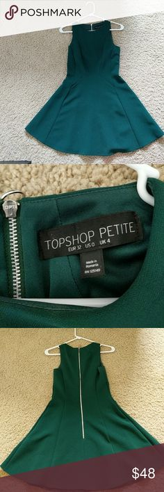 topshop petite dark green mini dress topshop petite dark green mini dress. Worn once to a wedding. Great condition! Model in fourth photo wearing a different color & a necklace. This dress is green and comes as shown in first 3 photos. Topshop Dresses Mini