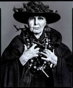 """Louise Nevelson - """"I have never liked the middle ground – the most boring place in the world.""""Louise Nevelson (September 1899 – April was an American sculptor known for her monumental, monochromatic, wooden wall pieces and outdoor sculptures. Robert Mapplethorpe, Robert Doisneau, Louise Nevelson, Richard Avedon, Joseph Cornell, Gordon Parks, Diane Arbus, Annie Leibovitz, Man Ray"""