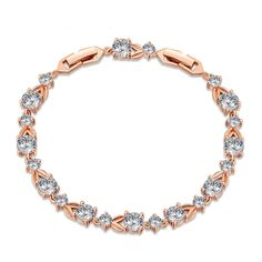 'Round+cubic+zirconia+prong+set+over+stylishly+crafted+flexible+bracelet+in+rose+gold+vermeil.Beautiful+bracelet+for+women+with+style.CZ+is+April+birthstone.Can+be+a+thoughtful+gift+to+say+thanks+to+someone+for+being+there.|BRRX10600516850BBSP'