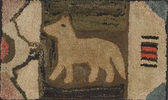 "Estimated: $400 - $600  Realized Price: $889  American hooked rug with dog, ca. 1900, 22"" x 36"""