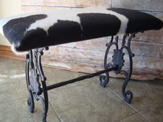 Vintage Rod Iron Cowhide Bench or Stool  by HighPointFarm2010, $125.00