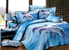 Would love this for Sam but the price is a little steep!! $ 106.69 Fairylike Blue Dolphins 4 Piece Active Print Bedding Sets with Cotton (10486355)