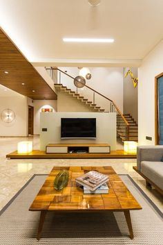 Share this on Design with Straight-lines, Creative and Comfortable Responses Bungalow Interiors, Bungalow House Design, Modern House Design, Stairs In Living Room, Ceiling Design Living Room, Home Stairs Design, Home Interior Design, Living Room Tv Unit Designs, Apartment Interior