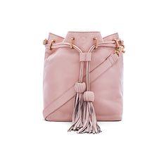 Foley + Corinna Sascha Drawstring Bucket Bag (1.025 RON) ❤ liked on Polyvore featuring bags, handbags, shoulder bags, fringe purse, drawstring bucket bag, pink shoulder bag, leather hand bags and shoulder handbags