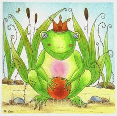Frog King Watercolor painting doing with Letraset Aquamarkern painted from Martina Loos