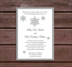 100 Snowflake Wedding Invitations, RSVP's, Reception Invitations w/ FREE Calendar Stickers, personalization, printing #EasyNip