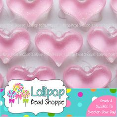 Valentine's Day! .... LIGHT PINK Glitter Heart Pendants NEON Acrylic Sparkly Heart Charms Plastic Sparkle Hearts Pendant 28mm x 21mm 4-ct Mixed Chunky Necklaces by LollipopBeadShoppe, $3.95