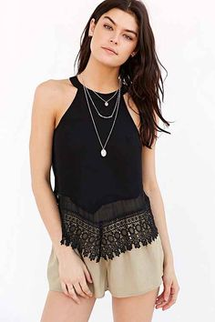 Glamorous Cut-In Crochet-Trim Tank Top
