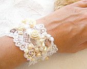 Wedding charm beaded Bracelet , embroidered hand made,  vintage embroidery lace bracelet.