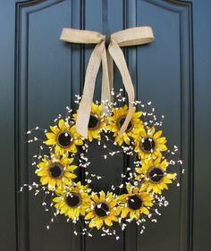 Sunflower - White Berry Wreath