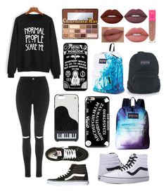 """Emo nemo"" by cutiegirl655 on Polyvore featuring WithChic, Topshop, Vans, Too Faced Cosmetics, Lime Crime, Jeffree Star, Kate Spade, Casetify and JanSport"