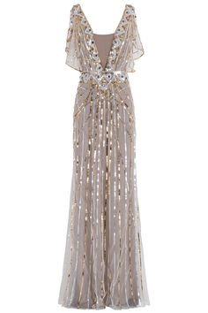 Temperley London Sequin Gown in Gold