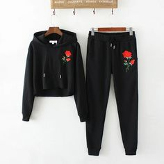 Cheap suit suit, Buy Quality women casual suits directly from China casual suit women Suppliers: 2017 autumn korean Casual Harajuku Women Hooded Tops long sleeves Embroidered Roses Womens Pants Embroidered Roses Ladies suits Girls Fashion Clothes, Teen Fashion Outfits, Cute Fashion, Outfits For Teens, Sporty Fashion, Mod Fashion, Sporty Chic, Fashion Women, Jean Rose