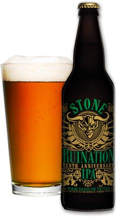 Stone Ruination Tenth Anniversary IPA.  Incredibly rich and creamy.  Deep roasted double IPA goodness.  Don't even try this, you won't like it.  That means more for me!