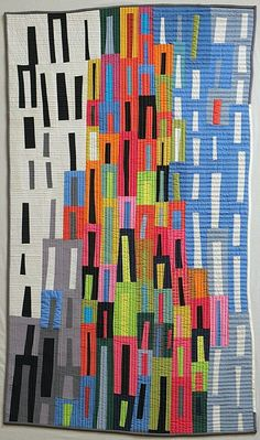 - A super fun Steph -- Metropolis by Pam Rocco, quilted by Tami Levin. Log Cabin Quilts, House Quilts, Quilting Designs, Quilting Ideas, Art Quilting, Modern Quilting, Quilt Art, Quilting Fabric, Landscape Quilts