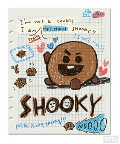 Shooky 🍪created by Suga❤방탄소년단 Bullet Journal Aesthetic, Bullet Journal Art, Bts Yoongi, Bts Book, Bts Drawings, Bts Chibi, Line Friends, Foto Bts, Bts Photo