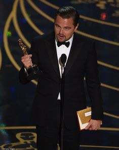 Platform: The actor used his lengthy acceptance speech to deliver a lecture on climate change, and was able to speak for a longer period than other winners when the producers failed to play 'wrap-it-up' music as he went well past his allotted time of 45 seconds