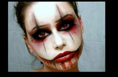 Scary clown makeup. Perfect for our family costumes this year ...