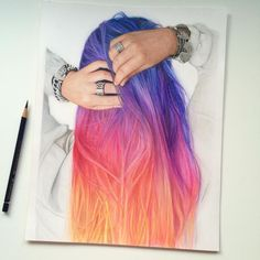 "I wonder if this would be possible to actually dye ...   ""it's finished! Yaay. It's so bright now  I love these colors. Hair practice ✔ color theory practice ✔✔ #drawing #art #coloredpencil #fabercastel…"""