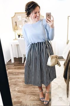 💛 I really love this blue linen sweater paired with this navy striped skirt! Everything in this outfit is linked here ➡️… Modest Dresses, Modest Outfits, Skirt Outfits, Dress Skirt, Dress Up, Modest Clothing, Midi Dresses, Women's Clothing, Jw Fashion