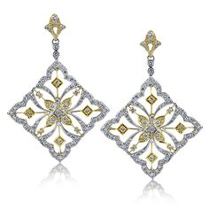 Duchess Collection - These fabulous 18K white and yellow gold earrings are comprised of 1.05ctw round white Diamonds. - DE208