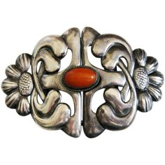 Antique Danish Skonvirke 826 Silver with Amber Buckle Set LARGE - Antique Danish Skonvirke 826 Silver with Amber Buckle Set LARGE