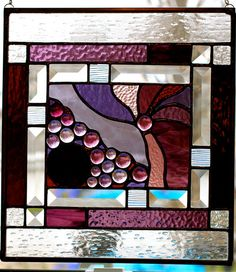 Purple Stained Glass Panel With Clear Bevels