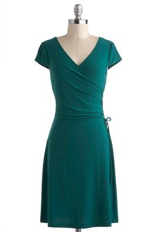 Teal It With a Kiss Dress - Mid-length, Green, Solid, Ruching, A-line, Wrap, V Neck, Work, Minimal