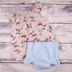 Tea Roses Flutter Top and Ruffle Diaper Cover Set- by Charming Necessities Baby Girl Clothes, Baby Shower Gift, Come Home Outfit