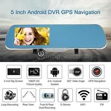 "5"" Android Smart GPS NAV CAR DVR Rearview Mirror Front Rear Camera Recorder BC9T | eBay"