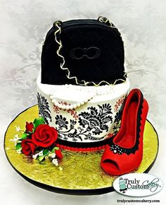 Red and Black Shoe and Purse Cake Cake by TrulyCustom Gorgeous Cakes, Pretty Cakes, Amazing Cakes, Unique Cakes, Creative Cakes, Cupcakes, Cupcake Cakes, Red And Black Shoes, Bag Cake