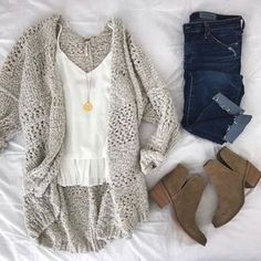� Grey cardigan, white top, skinny jeans, taupe ankle boots, gold pendant necklace