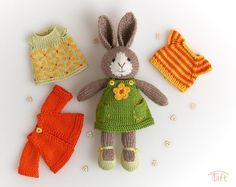 """Knitted Bunny """"Ema"""" with Outfit Julie Williams, Little Cotton Rabbits, Crochet Teddy, Plush Animals, Cotton Thread, Mild Soap, Black Cotton, Bunny, Handmade Items"""