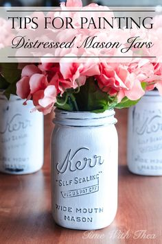 Tips For Painting Distressed Mason Jars ~ Inexpensively make distressed mason jars using any colour of homemade chalk paint with these simple doable tips! / timewiththea.com