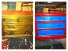 Dresser for my little boys room Total cost for the project, $16 between paint ( sample sizes) and the new hardware .