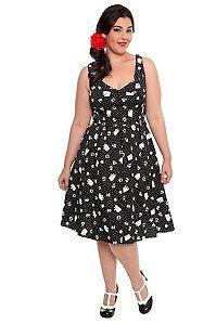 Lucky 13 - Black and White Anchor Cherry Print Hairspray Dress $79