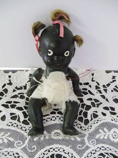 Vintage Black Americana Bisque Doll  4 Inches tall by UrbanRenewalDesigns, $42.00