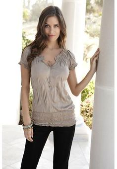 Short Sleeve Peasant Top From Body Central
