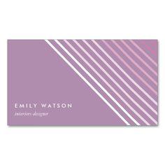 Pink purple lines feminine elegant minimal visit card   tarjeta de visita   #striped #feminine #businesscard #visitcard #chic #sophisticated #customizable #personalizable