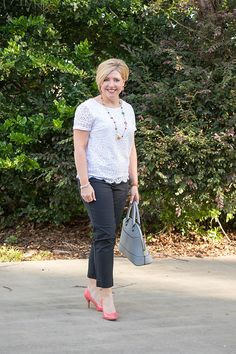 Savvy Southern Chic: 9 to 5 Style, lace, office outfit, work outfit, ankle pants