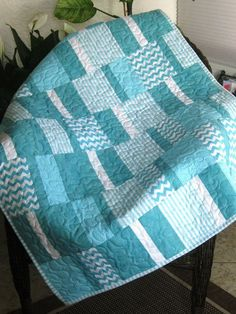 "Baby Crib Quilt - 34"" X 45"" - Aqua/white - Gender Neutral - Riley Blake And…"