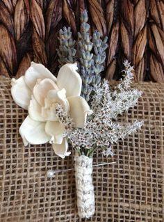 Handmade wedding corsage or boutonniere, Sola pea rose flower, dried lavender, german statice, natural linen fiber ribbon.
