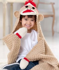 Sock Monkey Blanket Crochet Pattern | Red Heart