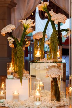 Entrance decor with mirrors and candles
