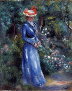 Woman in a Blue Dress, Standing in the Garden of Saint-Cloud - Pierre-Auguste Renoir Paintings Pierre Auguste Renoir, Edouard Manet, Painting Frames, Painting Prints, Dress Painting, Painting Canvas, August Renoir, Renoir Paintings, Oil Paintings