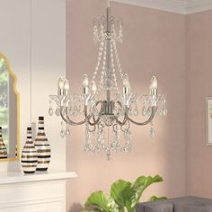 House of Hampton Jeter Candle Style Classic / Traditional Chandelier 5 Light Chandelier, Globe Chandelier, Chandelier Shades, Chandeliers, Compact Fluorescent Bulbs, Candelabra Bulbs, Polished Chrome, Classic Style, Candle